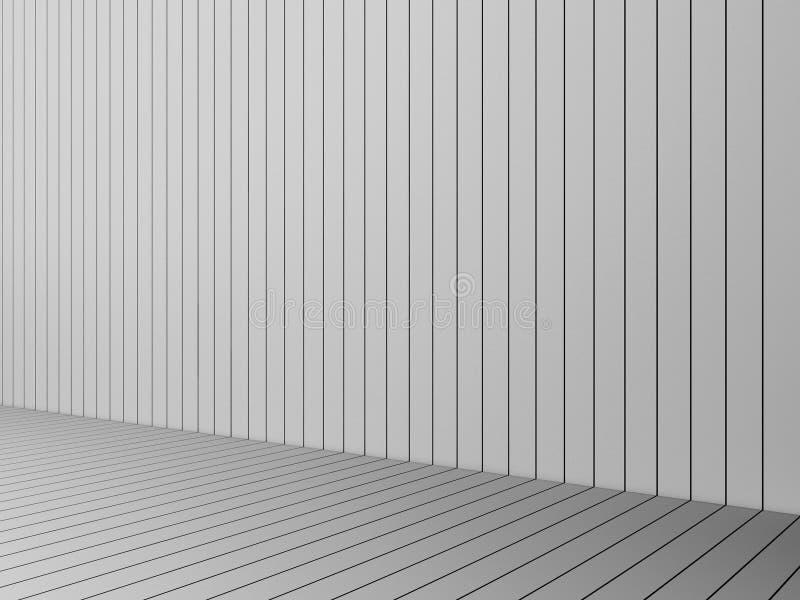 回报现代白色板条墙壁和地板,内部illustr的3D 皇族释放例证