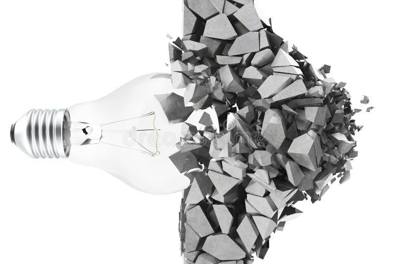回报电灯泡的3d,拆毁墙壁创造性思为的碎片、概念和创新 库存例证