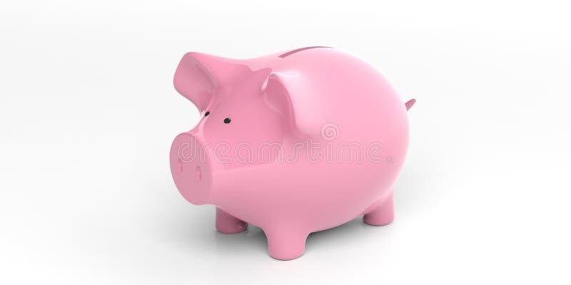 回报白色背景的3d桃红色存钱罐 向量例证