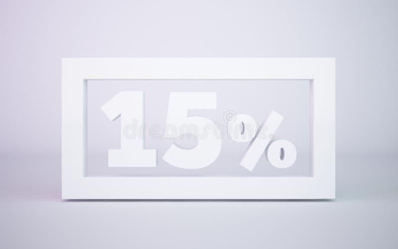 回报白色15百分比的3D隔绝了白色背景 皇族释放例证