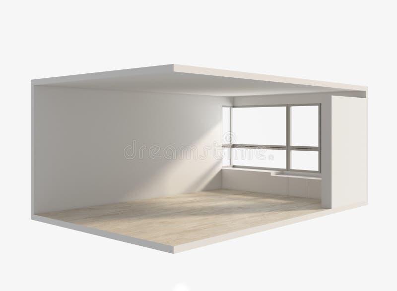 回报等量空的室的3D,内部 库存例证