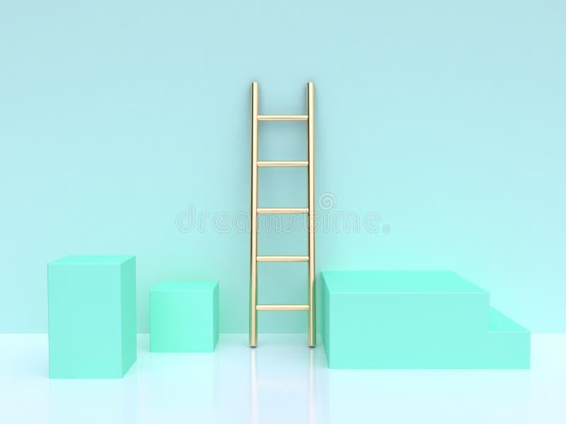 回报绿色场面的金梯子方形的形状3d 库存例证