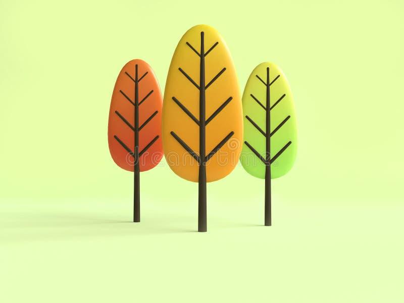 回报绿色背景的抽象五颜六色的树秋天/秋天动画片样式3d 库存例证