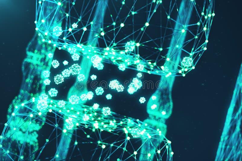回报蓝色发光的突触的3D 在人工智能的概念的人为神经元 突触神经的送电线 向量例证