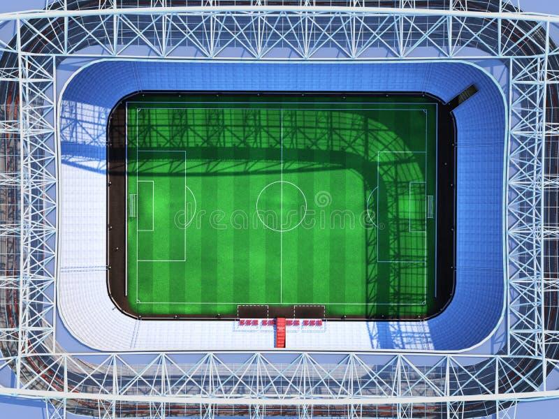 回报虚构的足球竞技场的体育场顶面3d 向量例证