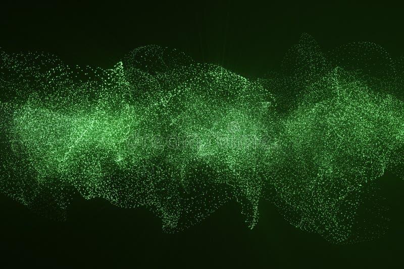 回报高科技数字式地形、绿色抽象空间在黑暗的背景与连接的小点和线的3d 库存照片
