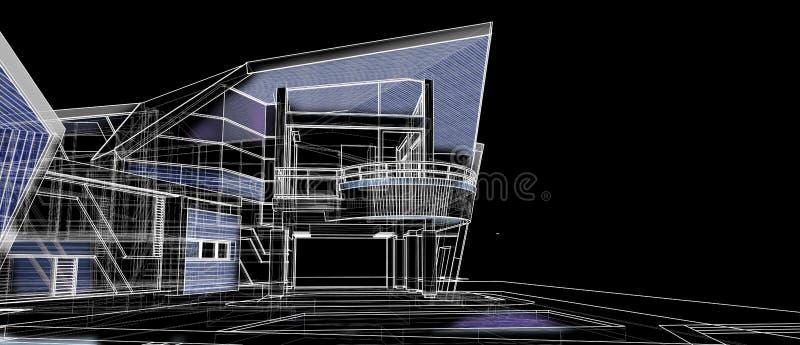 回报黑背景的建筑学外部门面设计观念3d透视导线框架 库存照片