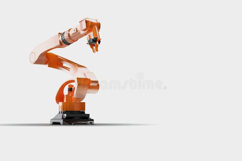 回报-工业焊接机器人的例证在机器人生产线制造商工厂的-大看法的3D 向量例证