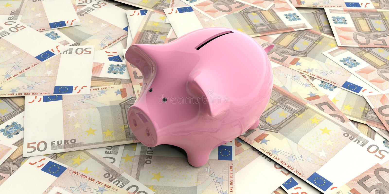 回报50张欧洲钞票的3d桃红色存钱罐 皇族释放例证