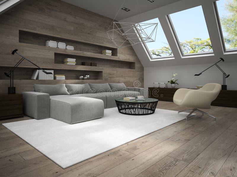 回报4的时髦的有双重斜坡屋顶的房屋的室3D内部  图库摄影