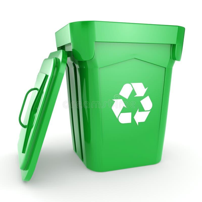 回报绿色回收站的3D 向量例证