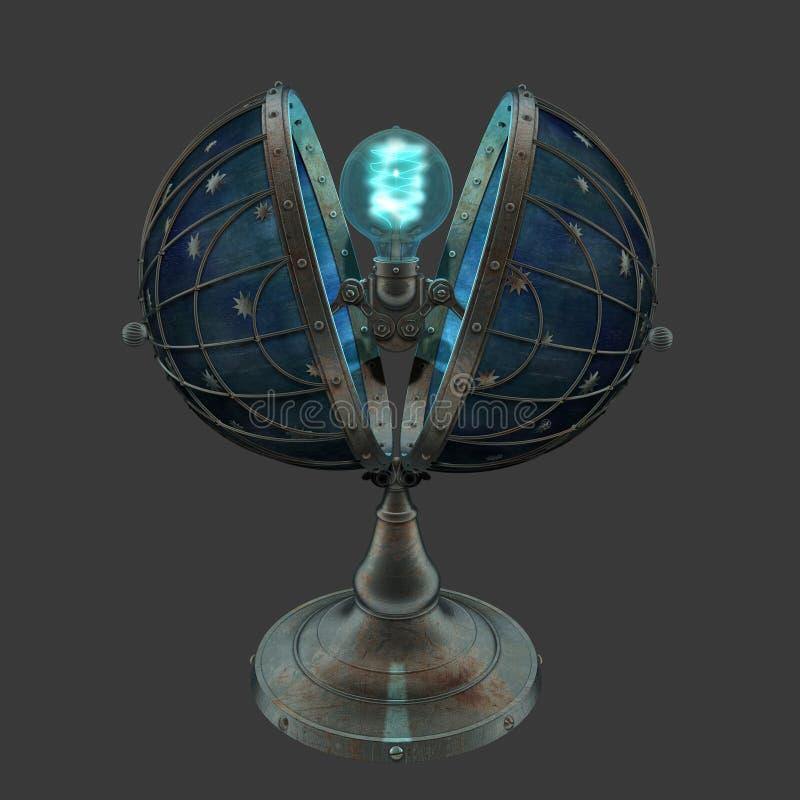 回报steampunk样式地球的3D塑造了有星的爱迪生灯 库存例证