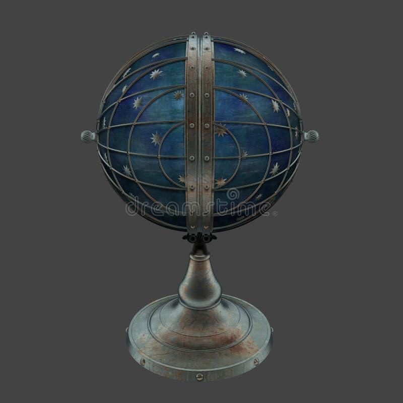 回报steampunk样式地球的3D塑造了闭合的爱迪生灯机智 向量例证