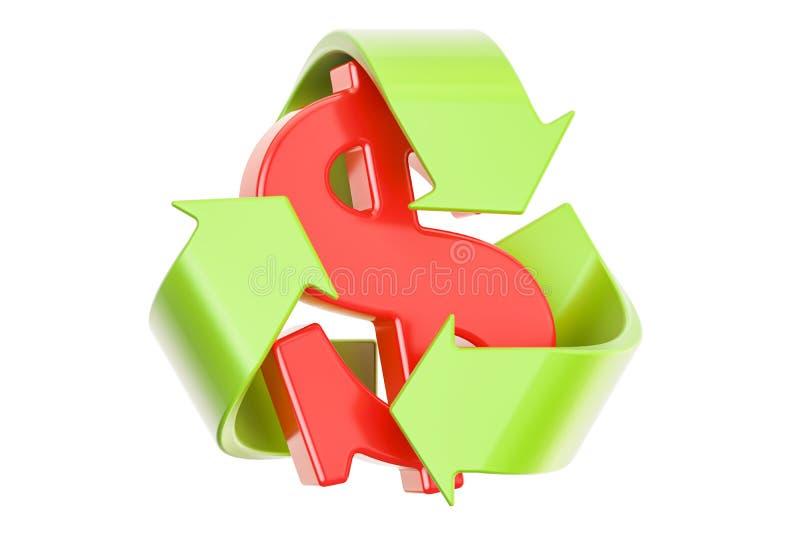 回收与美元的符号, 3D的标志翻译 库存例证