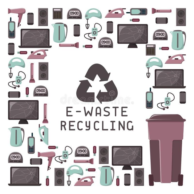 回收与老装置,大型垃圾桶和在上写字的E废物卡片 皇族释放例证