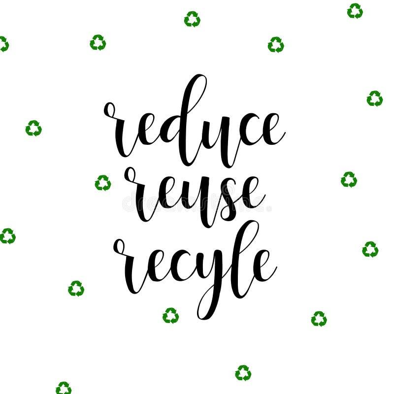 回收减少重新使用 印刷品和海报的手写的字法 皇族释放例证