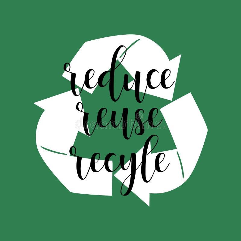回收减少重新使用 印刷品和海报的手写的字法 库存例证