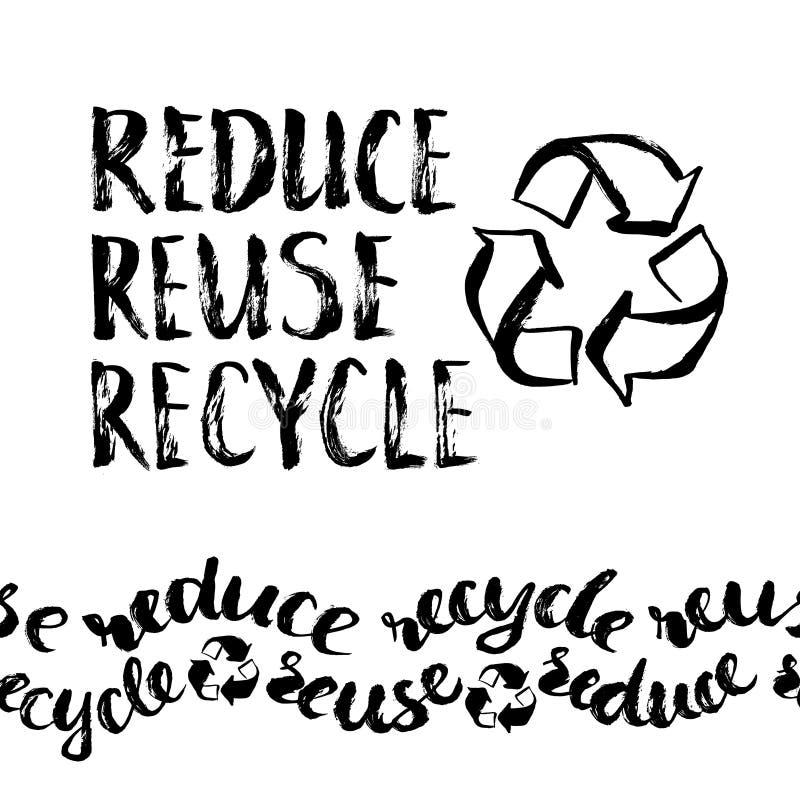 回收减少重新使用 手拉的回收的标志 向量例证