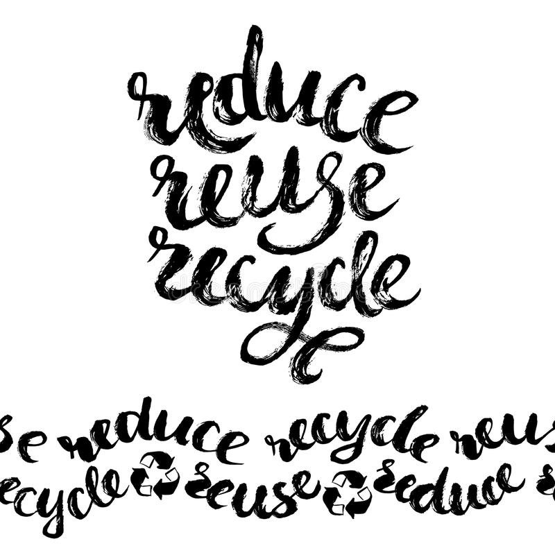 回收减少重新使用 手拉的字法 库存例证