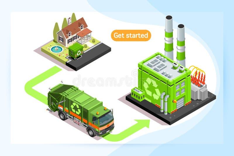 回收厂和废物卡车 向量例证