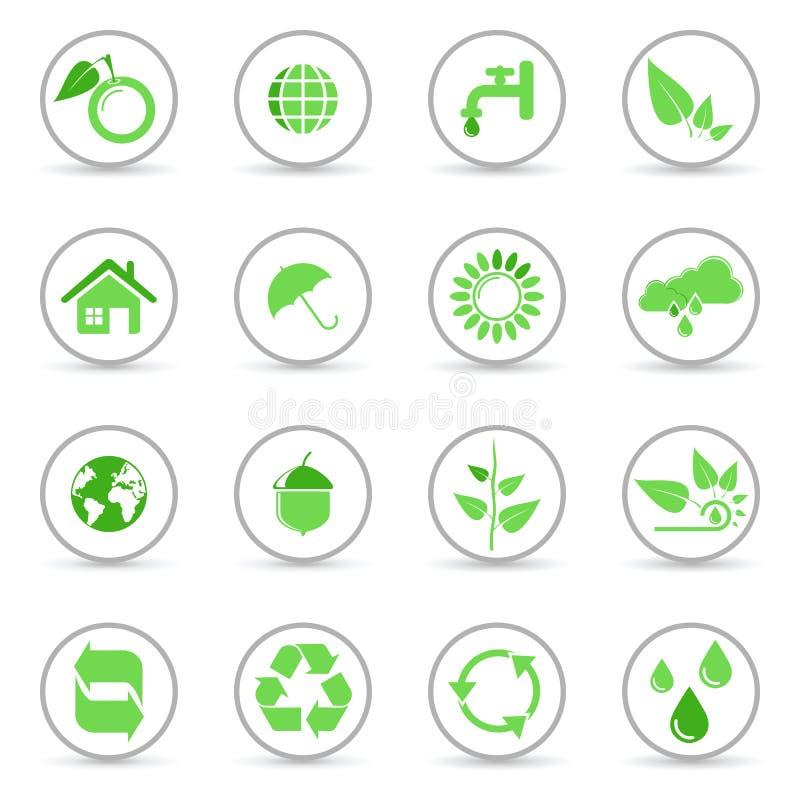 回收向量的环境图标 皇族释放例证