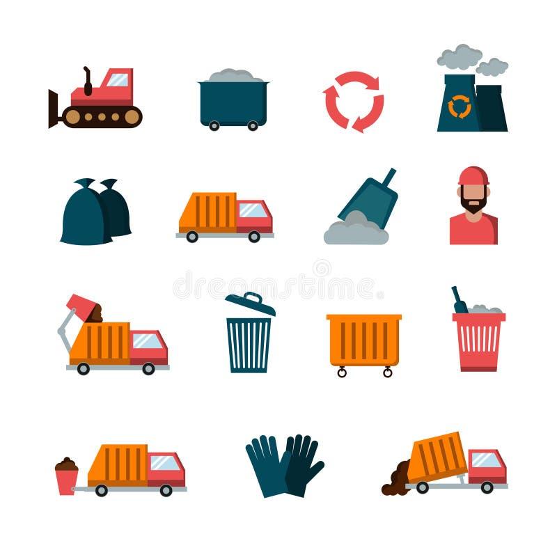 回收和废平的传染媒介象 库存例证
