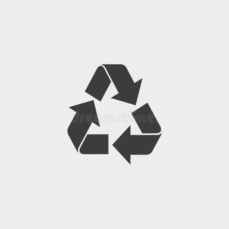 回收在一个平的设计的象在黑颜色 向量例证EPS10 库存例证