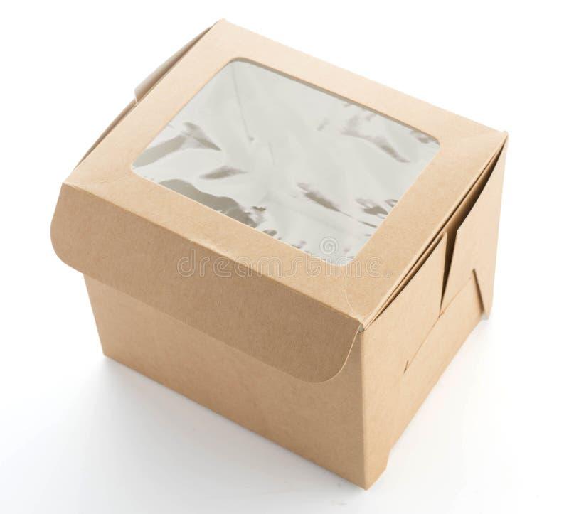 回收在白色的蛋糕盒 免版税图库摄影