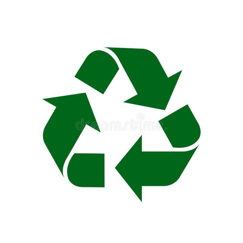 回收在白色背景隔绝的标志绿色,绿色生态象标志,绿色箭头形状为回收象垃圾废物 皇族释放例证