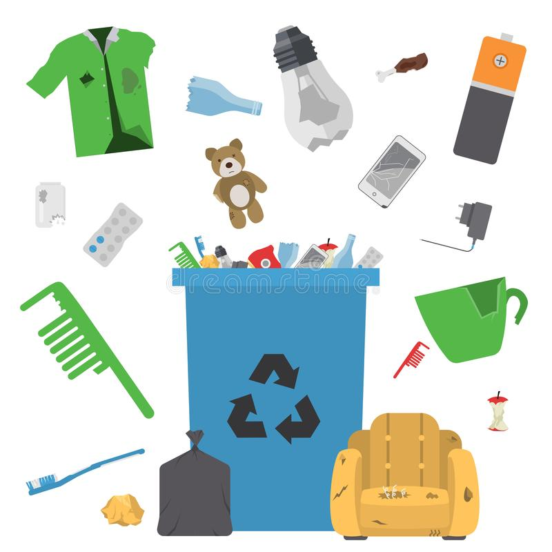 回收垃圾传染媒介垃圾袋轮胎管理生态产业垃圾运用概念废排序的例证 皇族释放例证