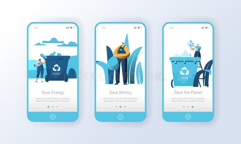回收屏幕集合的塑料垃圾桶流动应用程序页 人们重复利用垃圾减少自然污染 Eco 向量例证