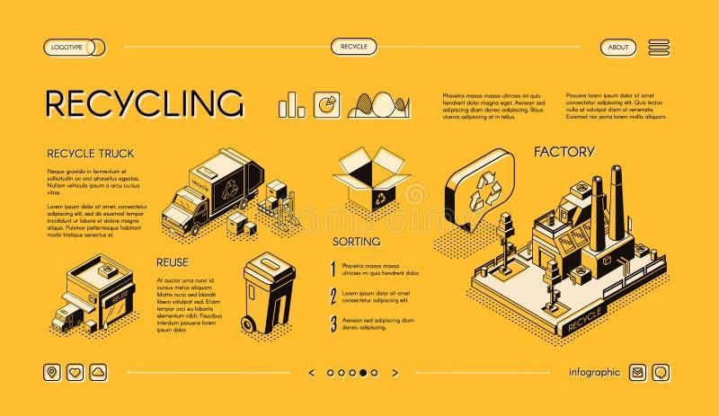 回收废物处理传染媒介infographics幻灯片 皇族释放例证