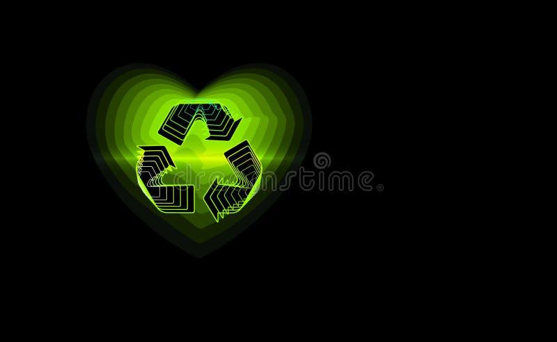 回收心脏背景 环境摘要,生态样式 也corel凹道例证向量 查出的对象 世界环境日po 库存例证