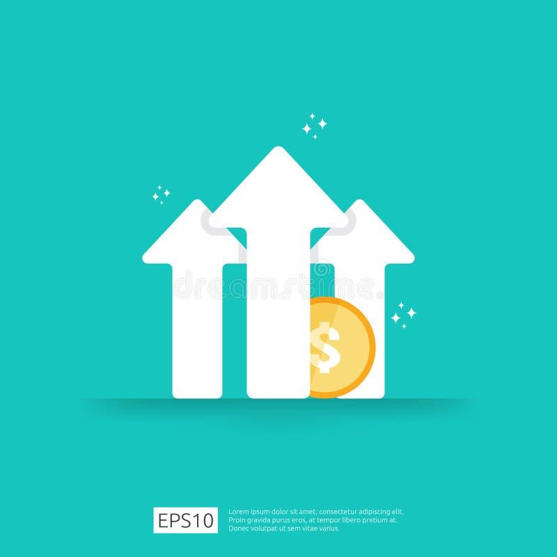 回收投资财务表现ROI概念的与箭头 收入薪金率增量 营业利润成长边际 库存例证