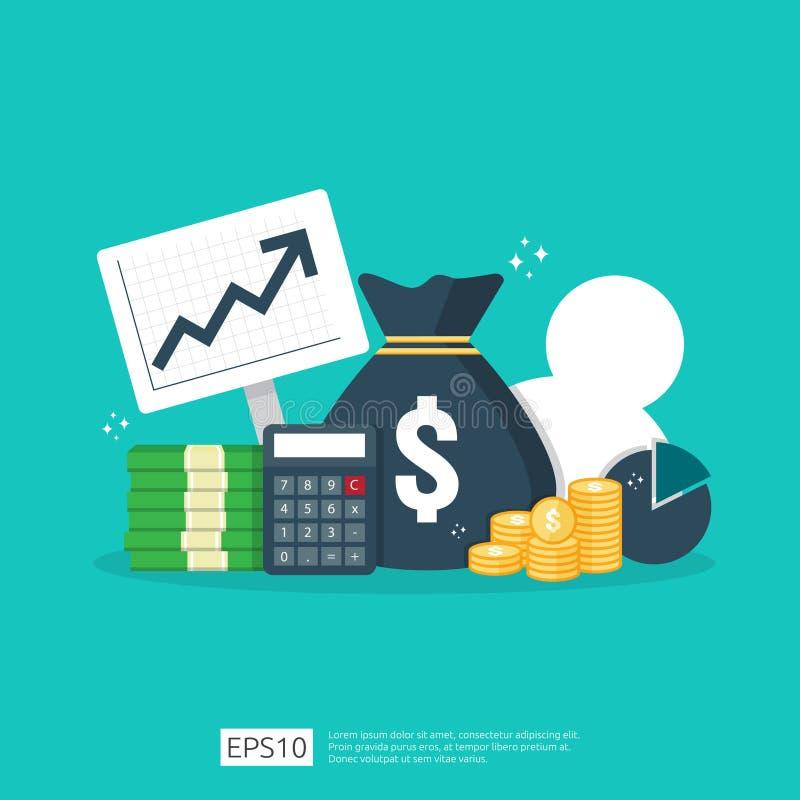 回收投资财务表现ROI概念的与箭头 收入薪金率增量 营业利润成长边际 皇族释放例证
