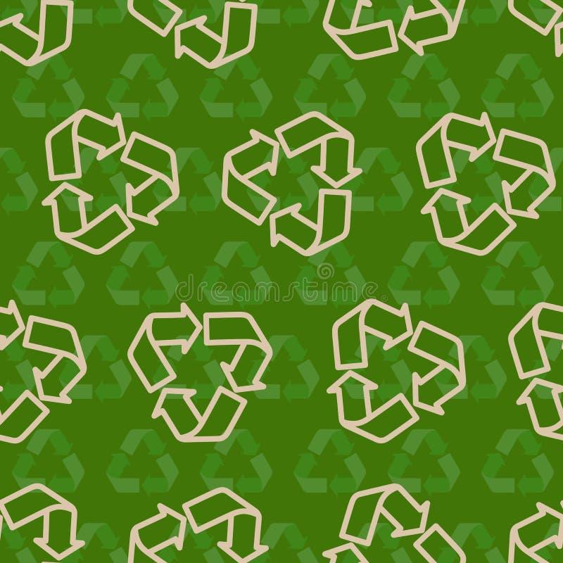 回收标志样式的无缝的传染媒介 皇族释放例证