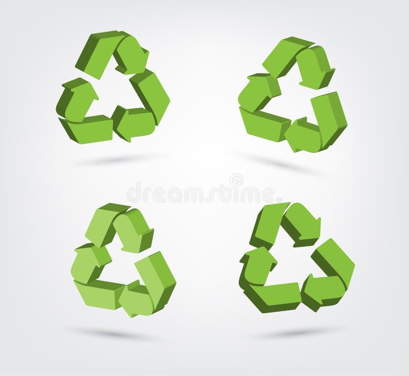 回收标志汇集的3d传染媒介  库存例证