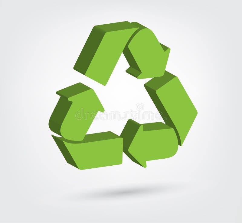 回收标志的3d的传染媒介例证 皇族释放例证