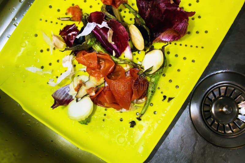 回收概念的自然食品废弃部 免版税库存图片