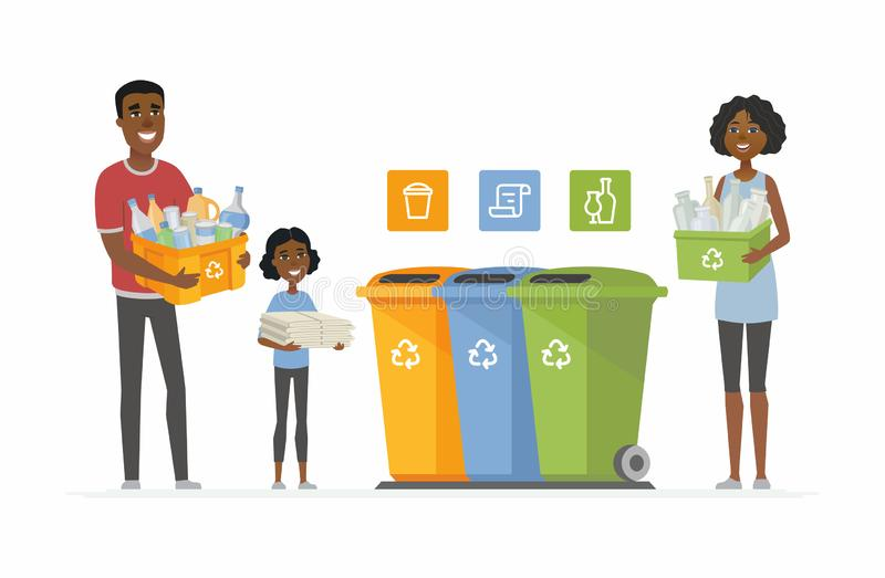 回收概念-现代动画片人字符例证 向量例证