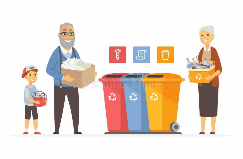 回收概念-现代动画片人字符例证 皇族释放例证