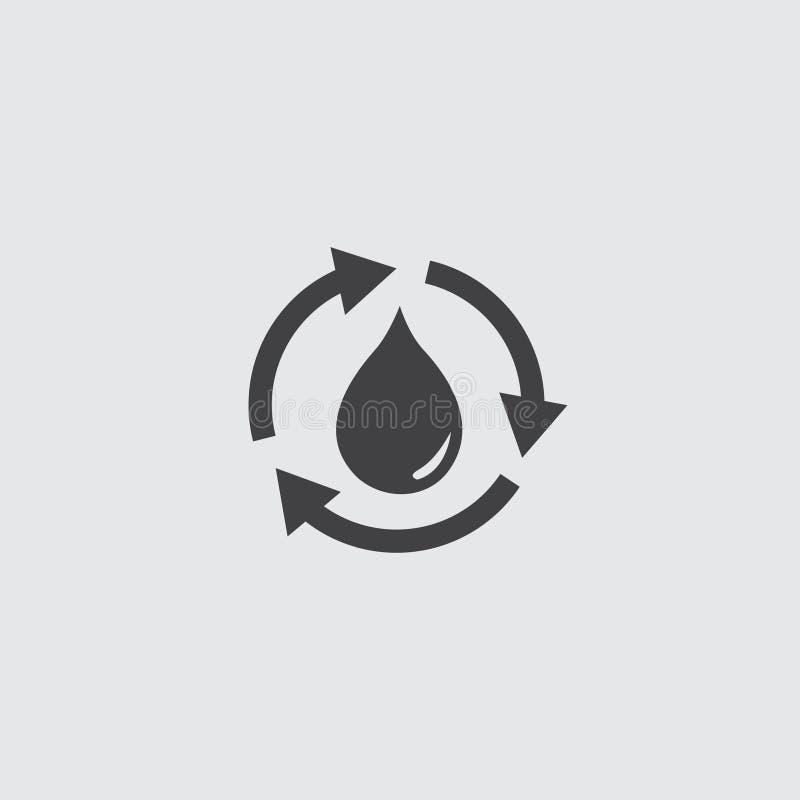 回收水在一个平的设计的下落象在黑颜色 向量例证EPS10 库存例证