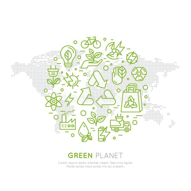 回收生态概念的商标集合徽章 与全球性地图, Infographic海报的一副页网站模板横幅 库存例证