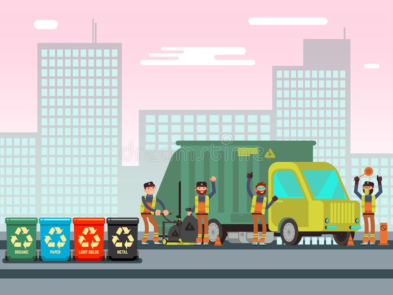 回收用不同的废类型的废物箱 皇族释放例证