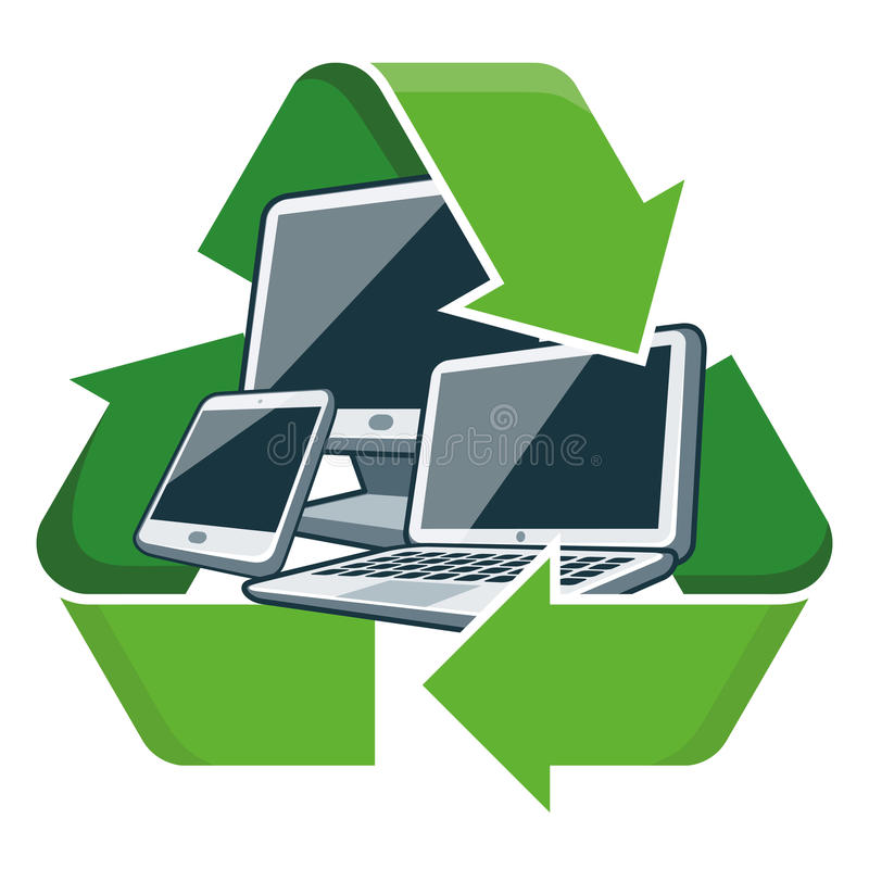 回收电子设备 皇族释放例证