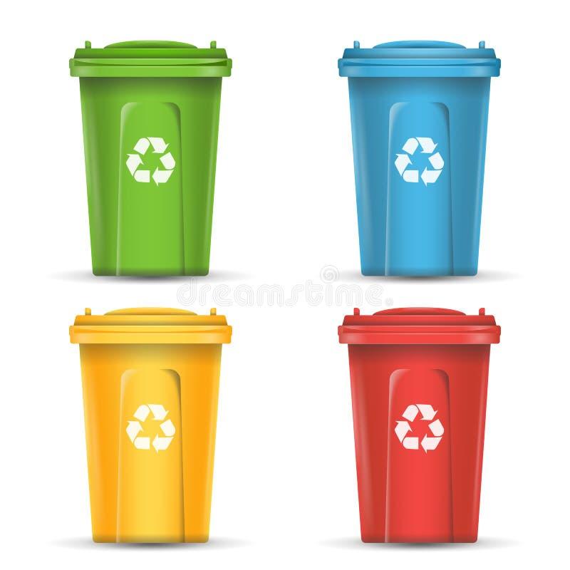 回收的排序传染媒介的废物现实容器 套红色,绿色,蓝色,黄色桶 向量例证