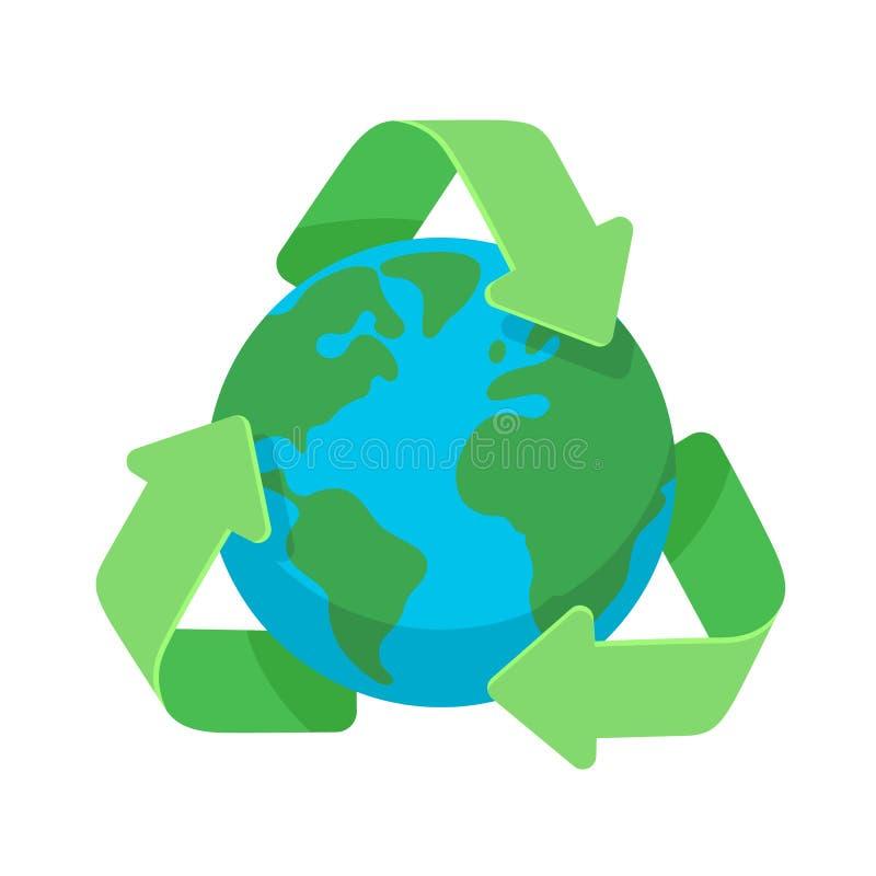 回收的标志在绿色网和机动性的,横幅,infographics行星地球地球平的设计象附近 库存例证