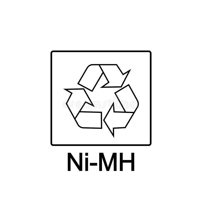回收的电池,镍金属氢化物电池,传染媒介例证,标志 皇族释放例证