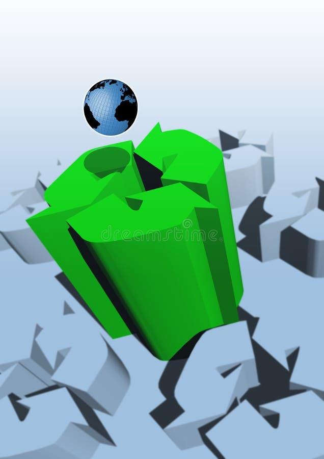 回收符号的地球 免版税库存图片