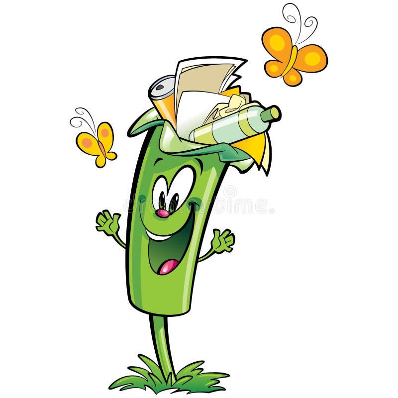 回收纸塑料的愉快的动画片绿色垃圾桶字符 向量例证